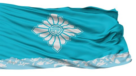 Toyama Capital City Flag, Toyama Prefecture of Japan, Isolated Realistic 3D Animation, Slow Motion, Seamless Loop - 10 Seconds Long