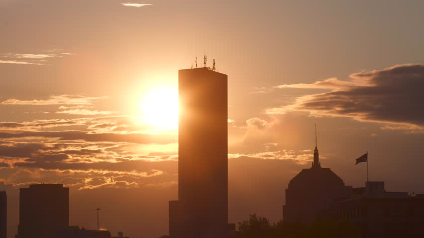 Boston Skyline Timelapse sunset 4K UHD
