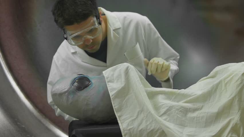 Alien Autopsy   Alien prop made to look like grey alien concept | Shutterstock HD Video #16752106