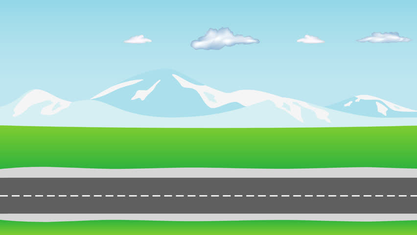 Cars Traffic On The Road Two Way A Highway Cartoon Driving Suburban Automobile In Both Directions