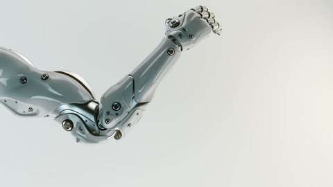 3d rendering of cyber hand with alpha and depth / Robotic arm showing finger up