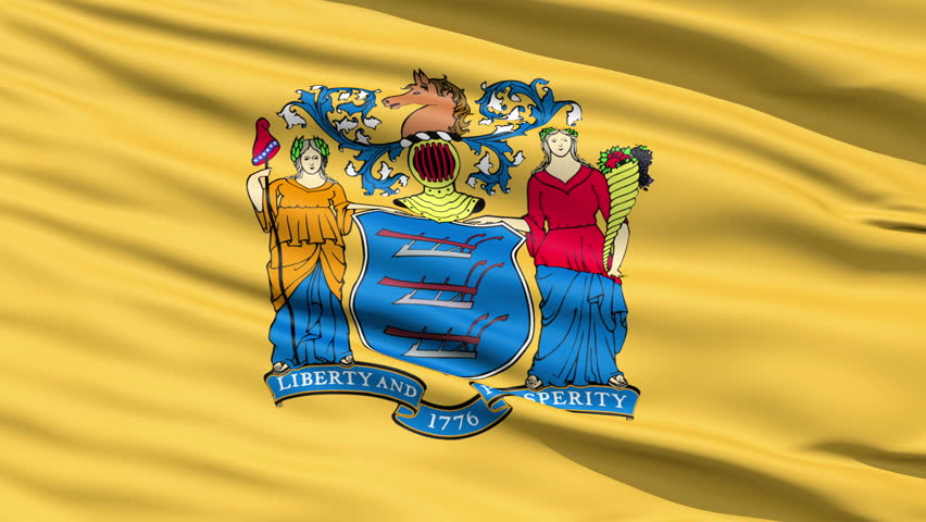 Waving Flag Of The US State of New Jersey bearing the Great Seal.