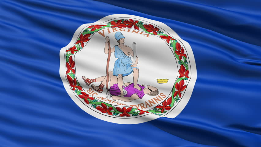 Waving Flag Of The Commonwealth Of Virginia, America, with the official seal