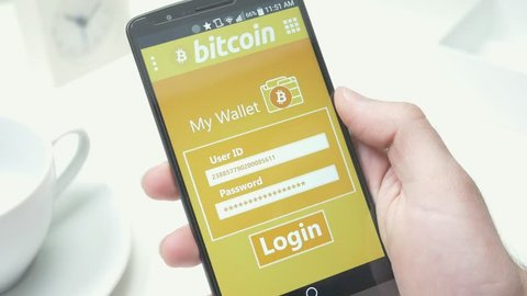 Login to check a bitcoin wallet on a smartphone.