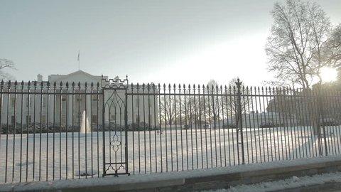 Sun sets over the White House on cold Washington winter day. Washington DC - USA: January, 2016