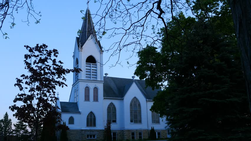 An historic rural church in farm country