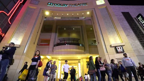 Dolby theatre at night - February 2016: Los Angeles, California, Hollywood boulevard