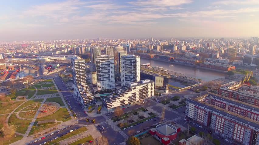 Buenos Aires, Argentina - November 23, 2015: High rises lining waterfront | Shutterstock HD Video #16885927