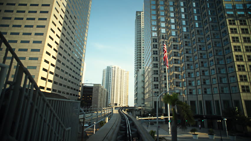 Metrorail train in downtown Miami