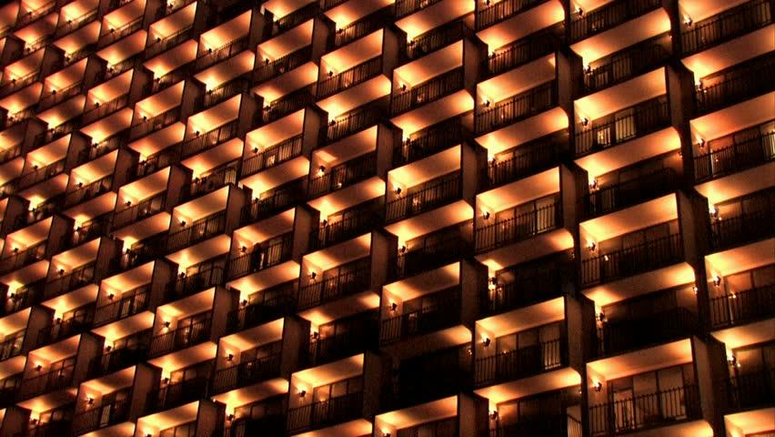 Hd00 18balconies On Hotel On Riverwalk In San Antonio Texas Night