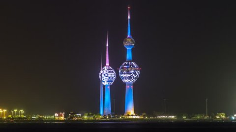 The Kuwait Towers night timelapse - the best known landmark of Kuwait City. Kuwait, Middle East