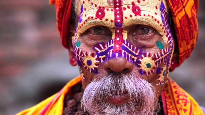 Portrait of sadhu, or holy man in the Pashupatinath temple complex in Kathmandu, Nepal.