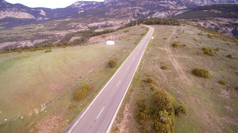 Aerial view: Mountain road in Port del Comte, Pyrenees