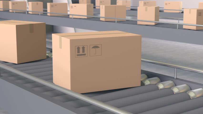Cardboard Boxes on Conveyor (Loopable)   Shutterstock HD Video #17035180