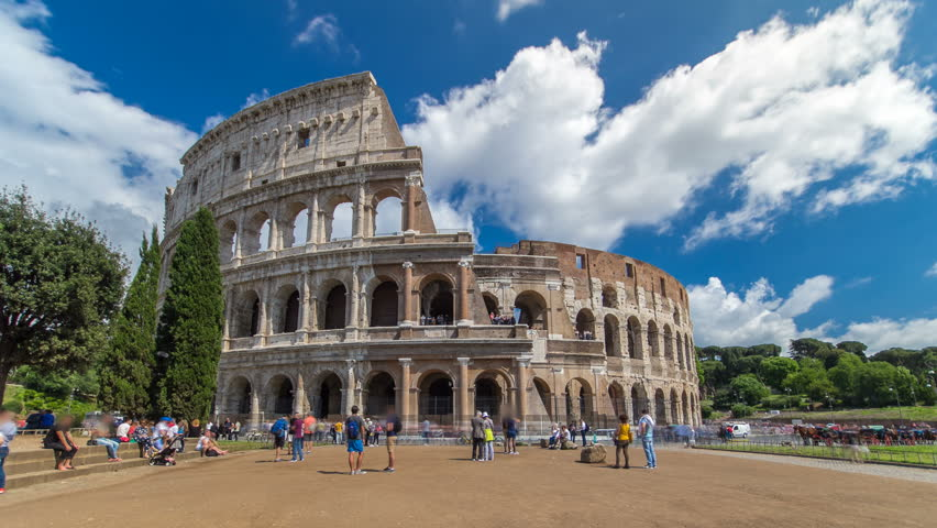 The Colosseum or Coliseum timelapse hyperlapse, also known as the Flavian Amphitheatre in Rome, Italy | Shutterstock HD Video #17068972