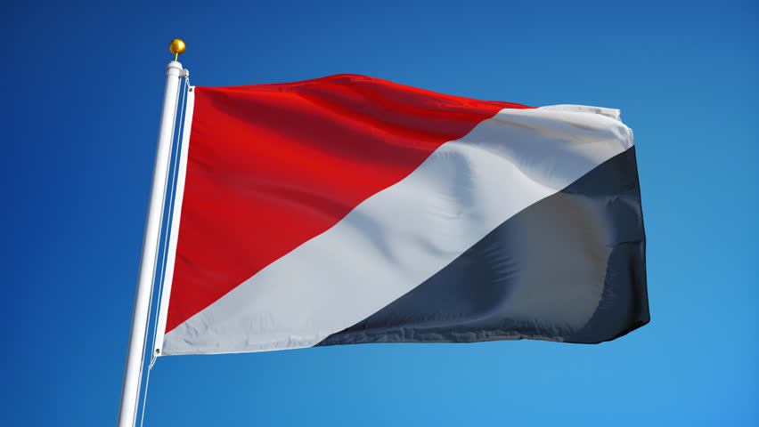 Sealand flag waving in slow motion against clean blue sky, seamlessly looped, close up, isolated on alpha channel with black and white luminance matte, perfect for film, news, digital composition | Shutterstock HD Video #17090857