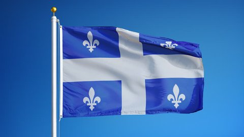 Quebec flag waving in slow motion against blue sky, seamlessly looped, close up, isolated on alpha channel with black and white luminance matte, perfect for film, news, digital composition