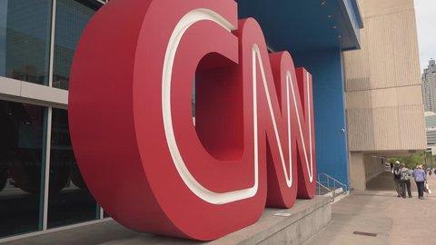 Big CNN Logo at CNN Headquarter Atlanta - ATLANTA / GEORGIA - APRIL 20, 2016