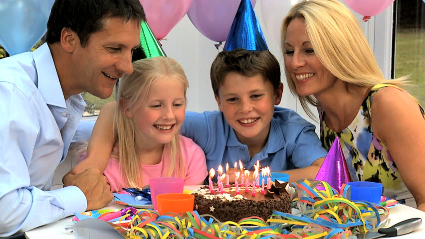 Young Caucasian Children Enjoying Birthday Celebrations