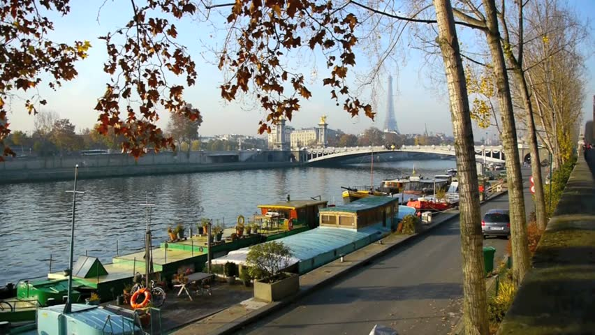 Houseboats On The Seine River Stock Footage Video 100 Royalty Free
