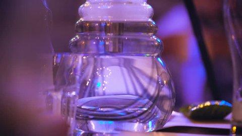 The flask hookah bubble. Night club or bar