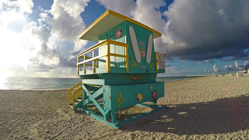 4K motion video of Lifeguard Station on Sobe South Beach sunrise in Miami Beach, Florida | Shutterstock HD Video #17256997