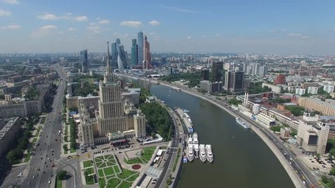 Russian skyscrapers flight over aerial view. Stalin high rise building. Ukraine hotel. Moscow city business center. Ultra HD 4k.