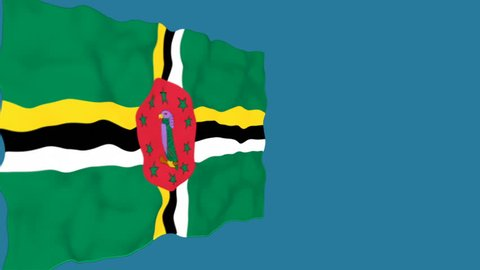 Flag of Dominica. Official Dominica flag. Isolated waving Dominica national flag on blue background.