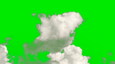 Time lapse clip of white fluffy cloud,cloud green screen,cloud isolated on green screen, ready of using.