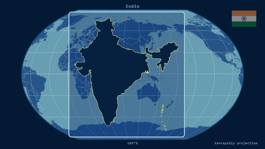 Zoomed-in view of a India outline with perspective lines against a global admin map in the Kavrayskiy VII projection