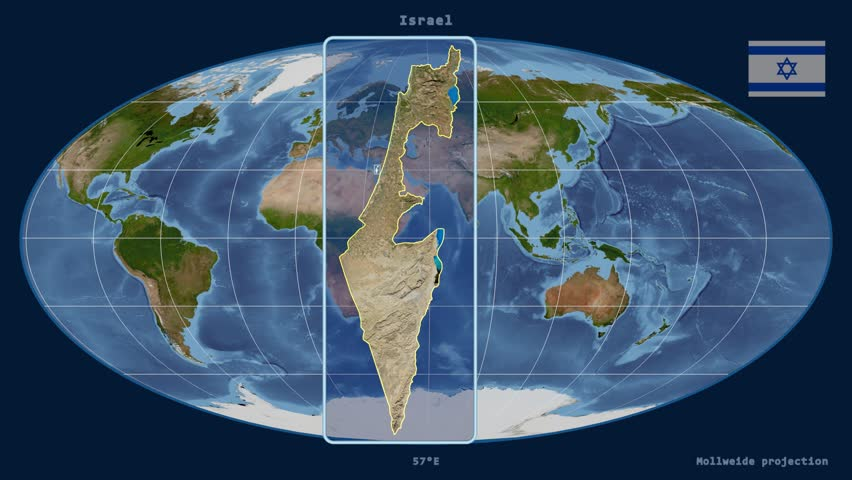 Distortion patterns animated world map in the interrupted goode zoomed in view of a israel outline with perspective lines against a global satellite map gumiabroncs Gallery