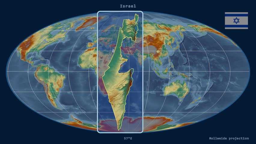 Distortion patterns animated world map in the robinson projection zoomed in view of a israel outline with perspective lines against a global relief map gumiabroncs Image collections