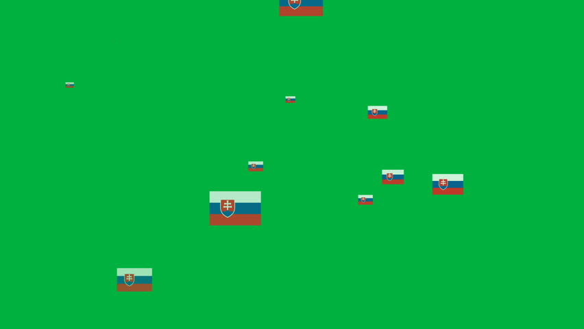 Isolated moving the Slovakia flag particles on green background. Flag of the Slovakia. Slovakia national flags.