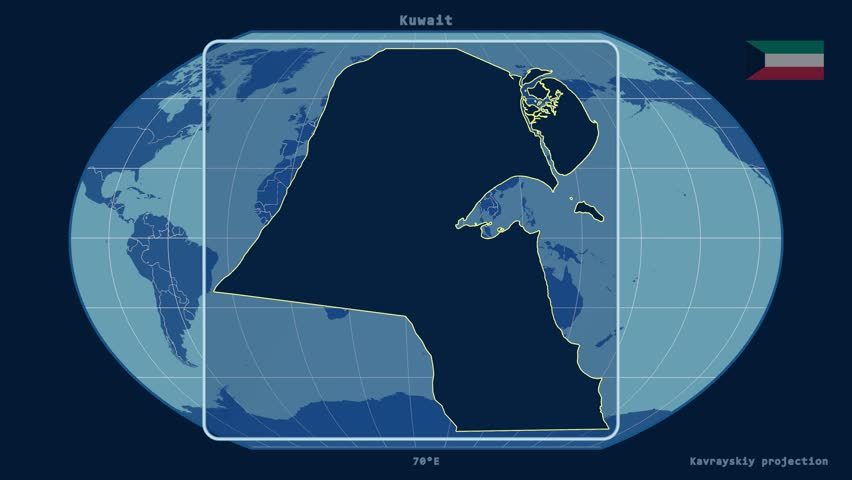 Zoomed-in view of a Kuwait outline with perspective lines against a global admin map in the Kavrayskiy VII projection