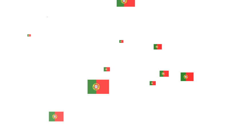 Isolated moving the Portugal flag particles on white background. Flag of the Portugal. Portugal national flags.