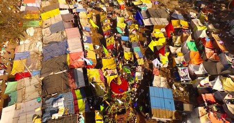 aerial view of market in celebrating festival in India