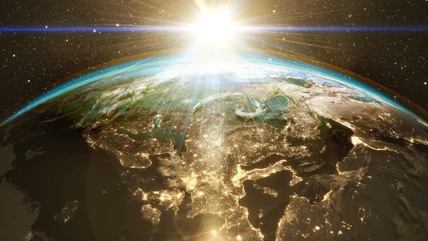Highly Detailed Epic Sunrise World Skyline Planet Earth Europe - Detailed satellite imagery
