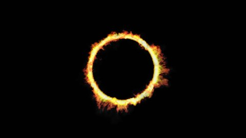 Animated ring of fire against transparent background in 4k. Ring, fire and smoke effect is isolated from background.