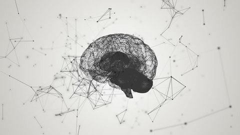 Human brain being formed by revolving particles. Plexus structure evolving around. Black and white abstract futuristic science and technology motion background. 3D rendering. Depth of field settings.