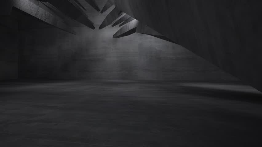 Stock Video Of Empty Dark Abstract Concrete Room Interior