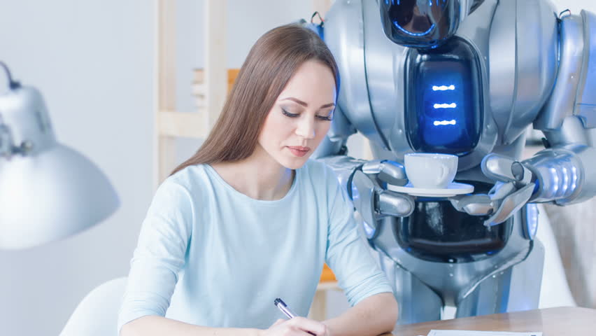 Robot giving cup of coffee to woman