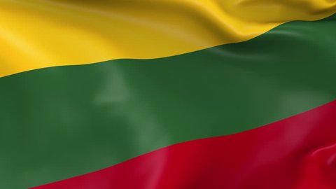 Photo realistic slow motion 4KHD flag of the Lithuania waving in the wind. Seamless loop animation with highly detailed fabric texture in 4K resolution.