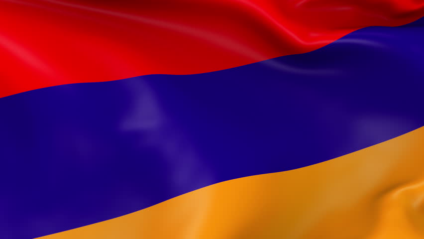 Photo realistic slow motion 4KHD flag of the Armenia waving in the wind. Seamless loop animation with highly detailed fabric texture in 4K resolution.