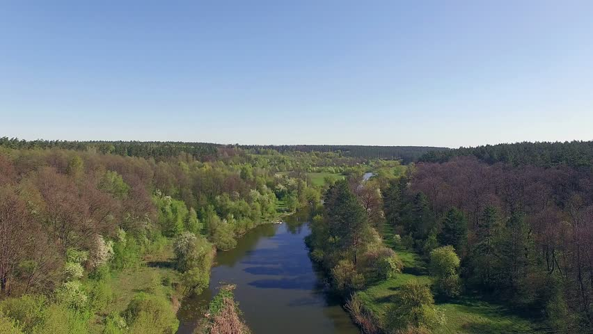 Fly over forest river, 4K Aerial view of small river, flying over the river | Shutterstock HD Video #17489017