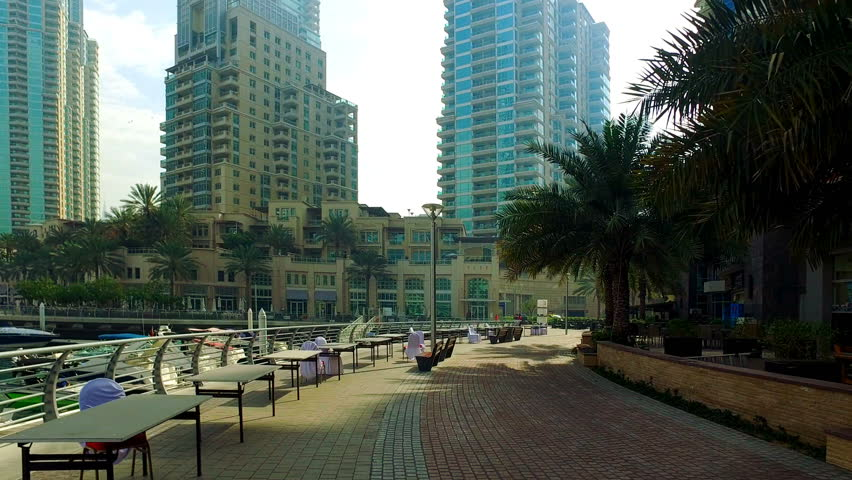 Walking at Dubai Jumeira Marina video 4k. Skyscrapers modern buildings Travel tourism Real Estate business in United Arab Emirates  | Shutterstock HD Video #17528794