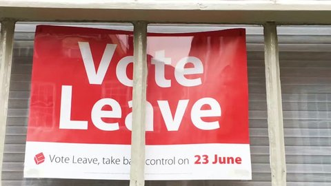 Bury St Edmunds, UK - June 23 2016: A house window with a poster for the Leave campaign on the day of the UK referendum, June 2016.