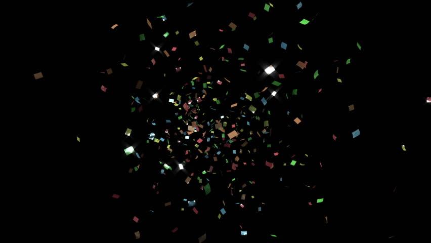 single cracker, color confetti, toward camera, CG with alpha mask