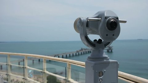 Long distance coin operated monocular binoculars telescope. Coast, beach, marina. Observation deck. Tourism and leisure, Black or Mediterranean Sea. HD, Size: 1080p (1920x1080), Sound: No