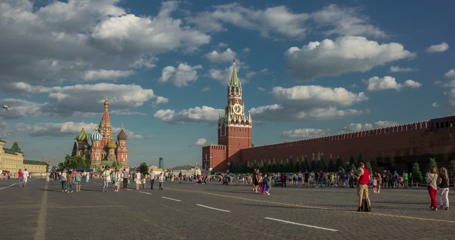 Moscow Kremlin, Red Square. Spasskaya Savior's clock tower timelapse.