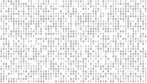 Binary Code White Background, Pattern of 1 and 0 digit blinking and changed over time